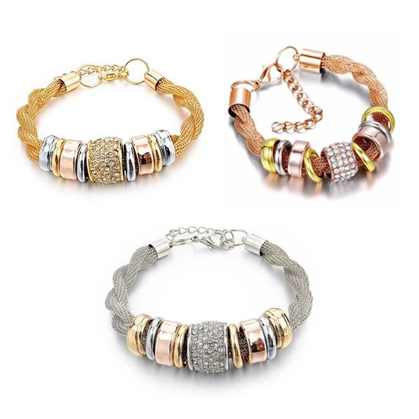 Entwined Metal Bracelet Trio - 3pc Set