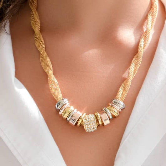 Entwined Gold Metal Necklace