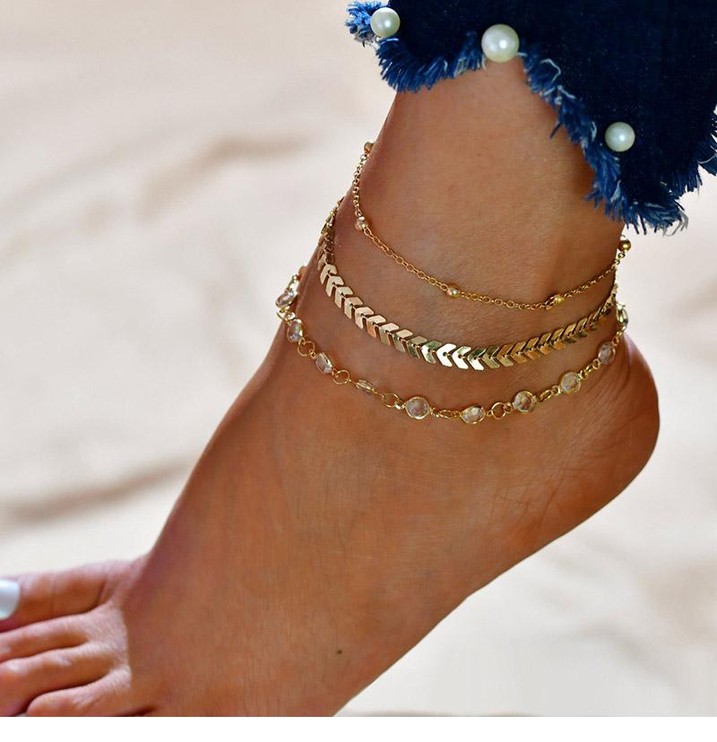 3 Sets of Chevron and Crystals Anklet Set - 9pcs
