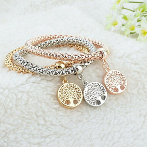 "3 Set of ""Tree of Life"" Bracelets with Austrian Crystals"