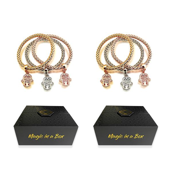 Magic in a Box - 2 Tree of Life Hamsa Edition Charm Bracelets Gift Set