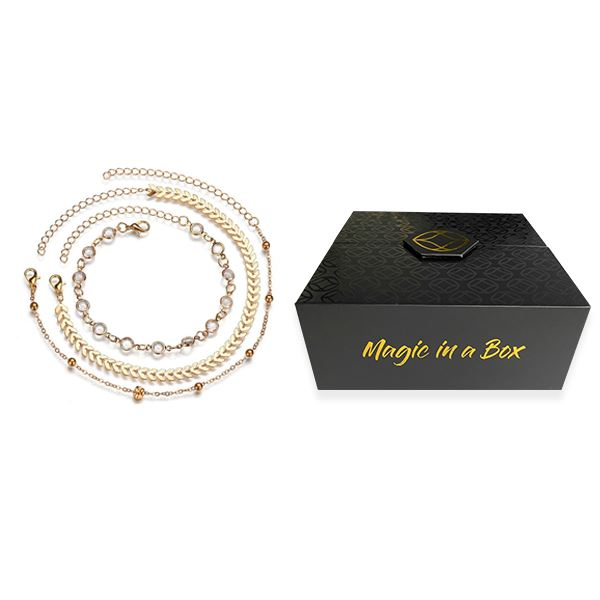 Magic in a Box - Chevron and Crystals Anklet Set - 3pcs