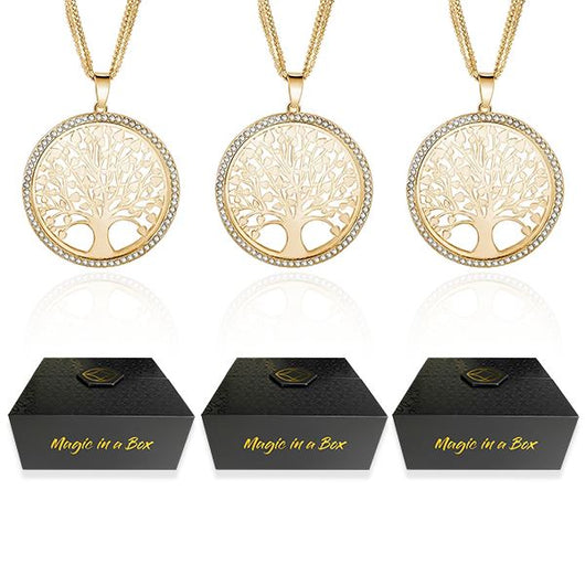 Magic in a Box - 3 Tree of Life Pendant Necklace Gift Set