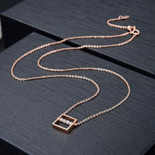 Load image into Gallery viewer, Rose Gold & Moonstone Square Necklace