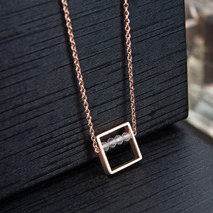 Rose Gold & Moonstone Square Necklace