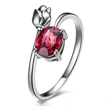 Load image into Gallery viewer, Rose Bud Red Crystal Ring