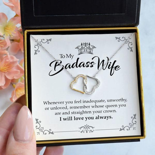 To My Badass Wife Joined Hearts Necklace