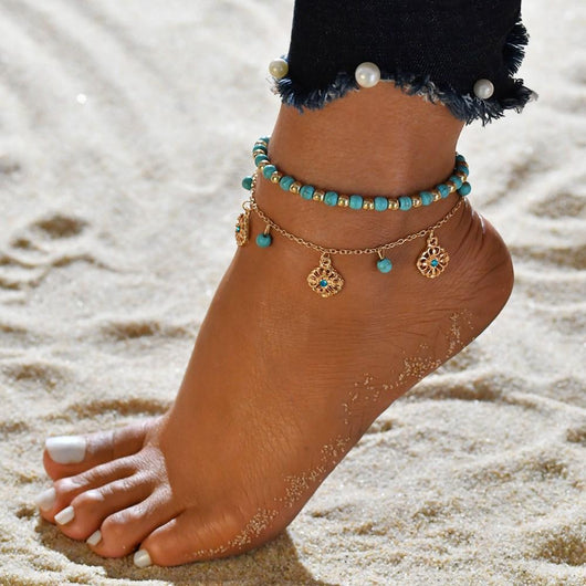 Turquoise Waters Anklet Set - 2pc