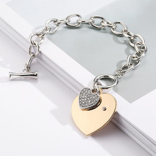 3 sets of Gold Heart Charm Chain Bracelet