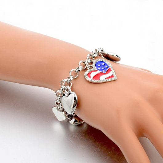 3 Sets of American Pride Heart Charm Bracelet