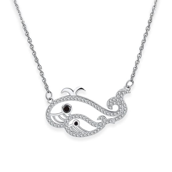 Whales Pendant Sterling Silver Necklace