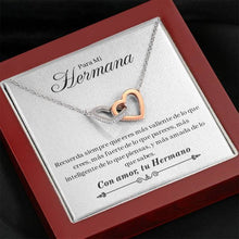 "Load image into Gallery viewer, ""Para Mi Hermana - Con Amor, Tu Hermano"" Joined Hearts Necklace"