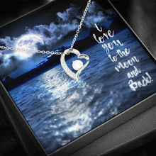 "Load image into Gallery viewer, ""Blue Moon"" Glimmering Heart Necklace"