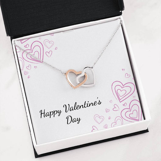 """Happy Valentine's Day"" Joined Hearts Pendant Necklace Gift Set"