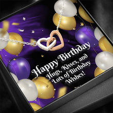 "Load image into Gallery viewer, ""HAPPY BIRTHDAY"" JOINED HEARTS NECKLACE"