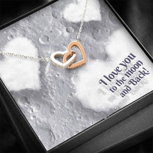 "Load image into Gallery viewer, ""To The Moon"" Joined Hearts Necklace"