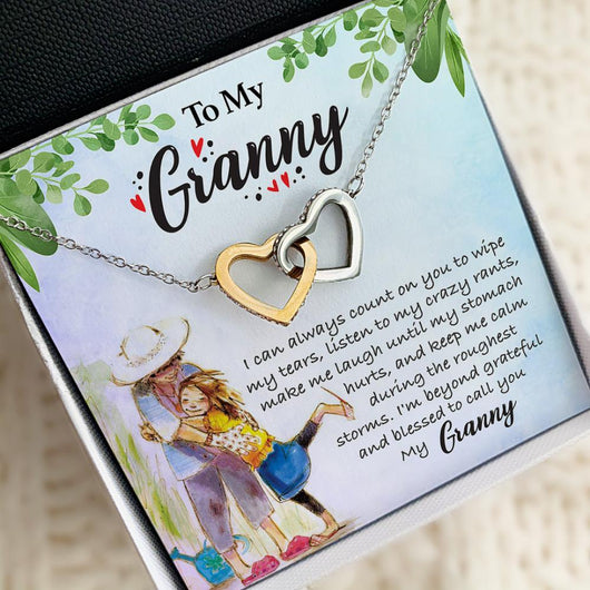 """To My Granny"" Joined Hearts Necklace"