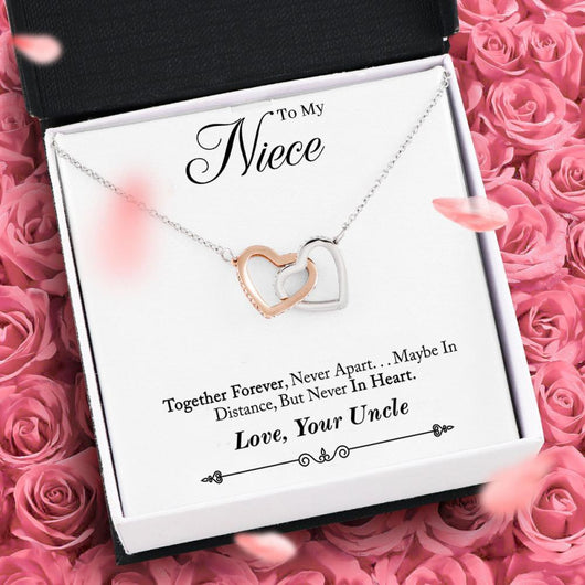 """To My Niece, Love Your Uncle"" Joined Hearts Necklace"