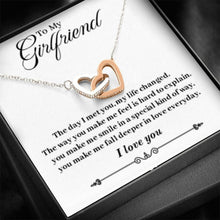 "Load image into Gallery viewer, ""To My Girlfriend"" Joined Hearts Necklace"