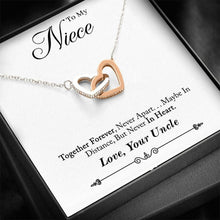 "Load image into Gallery viewer, ""To My Niece, Love Your Uncle"" Joined Hearts Necklace"