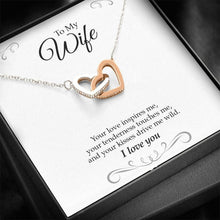 "Load image into Gallery viewer, ""To My Wife, Your Love Inspires"" Joined Hearts Necklace"