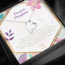 "Load image into Gallery viewer, ""Dearest Daughter"" Glimmering Heart Necklace"
