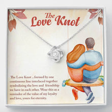 "Load image into Gallery viewer, ""The Love Knot"" Shimmering Loveknot Pendant Necklace"