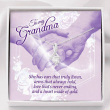 "Load image into Gallery viewer, ""To My Grandma"" Forever Crystal Pendant Necklace"