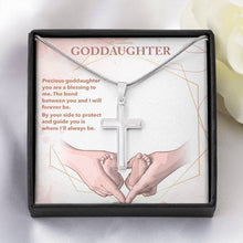 "Load image into Gallery viewer, ""To My Goddaughter"" White Gold Finish Cross Pendant Necklace"