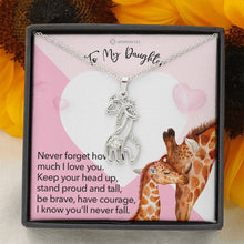 "Load image into Gallery viewer, To My Daughter ""Entwined Love"" Giraffe Pendant Necklace"