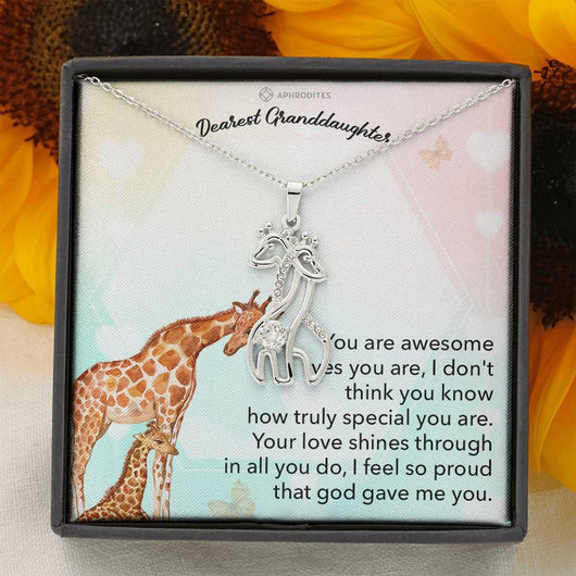 "Dearest Granddaughter ""Entwined Love"" Giraffe Pendant Necklace"