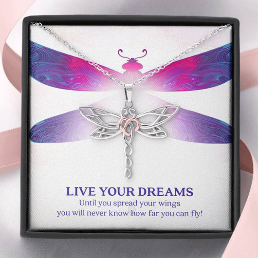 """Live Your Dreams"" Dragonfly Pendant Necklace"
