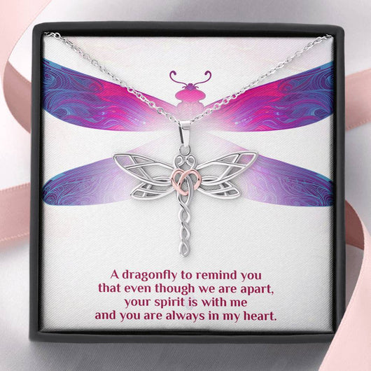 """You Are Always In My Heart"" Dragonfly Pendant Necklace"