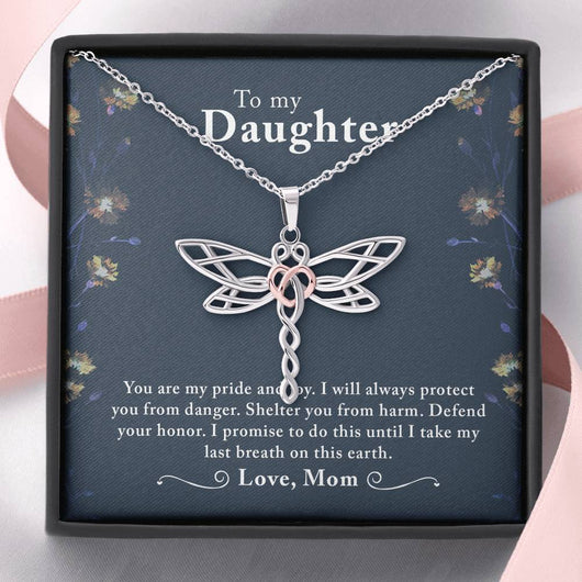 """To My Daughter"" Dragonfly Pendant Necklace"