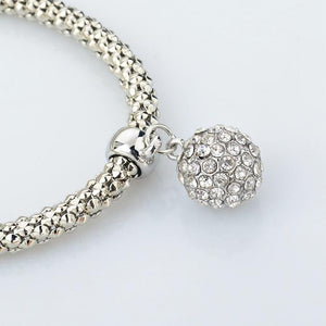 Crystal Studded Ball Charm Bracelets