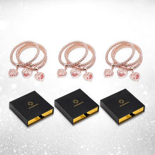 Load image into Gallery viewer, 3 Sets of Blush Gold Rose Charm Bracelets