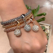 Load image into Gallery viewer, 3 Sets of Crystal Studded Ball Charm Bracelets