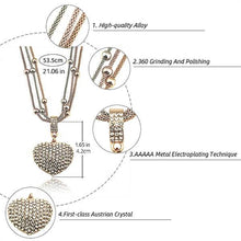 Load image into Gallery viewer, 2 Sets of Crystal Studded Heart Pendant Necklace