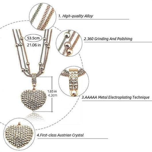 2 Sets of Crystal Studded Heart Pendant Necklace