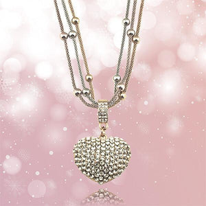Magic in a Box - Crystal Studded Heart Pendant Necklace