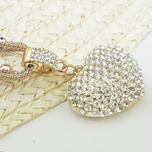 3 Sets of Crystal Studded Heart Pendant Necklace