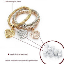 Load image into Gallery viewer, Heart Charm Bracelets with Austrian Crystals