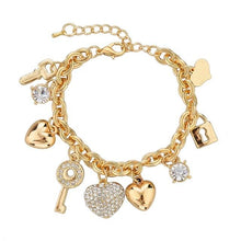 Load image into Gallery viewer, 3 Sets of Love Locked Gold Charm Bracelets
