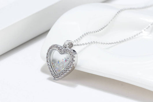 """To My Wife, I Choose You"" Shimmering Heart Aurora Crystal Necklace Gift Set"