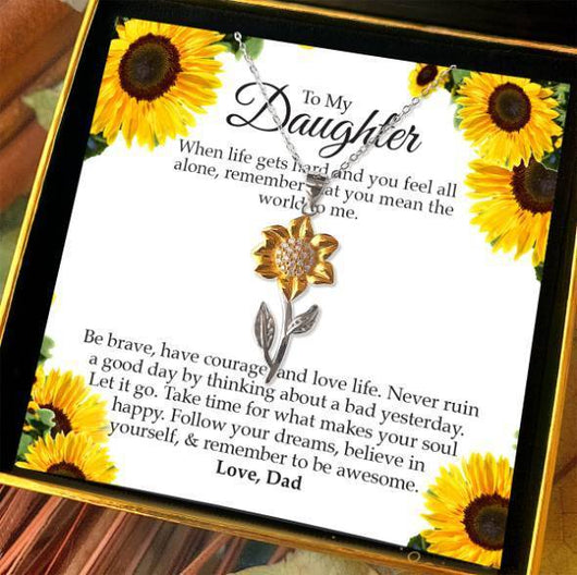 """To My Daughter, Love Dad"" Golden Sunflower Necklace Gift Set"