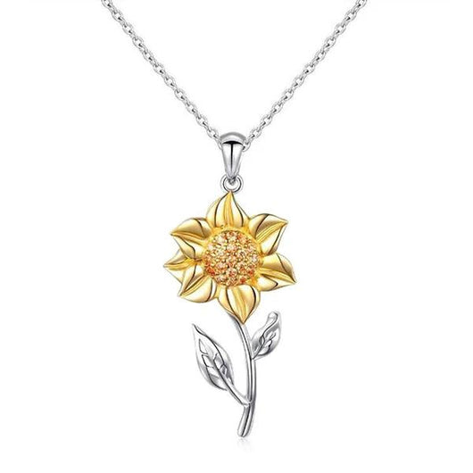 Golden Sunflower Sterling Silver Pendant Necklace