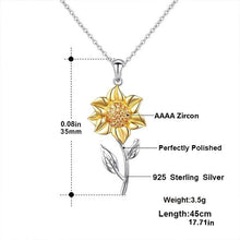 Load image into Gallery viewer, Golden Sunflower Sterling Silver Pendant Necklace