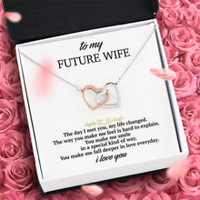 "Load image into Gallery viewer, ""To My Future Wife"" Joined Hearts Pendant Necklace Gift Set"