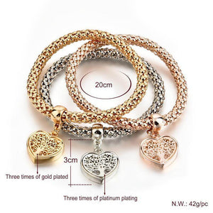 Magic in a Box - 3 Tree of Life Heart Edition Charm Bracelets Gift Set