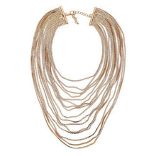 "Load image into Gallery viewer, ""Adorned"" Long Multi-Layered Gold Chain Necklace"
